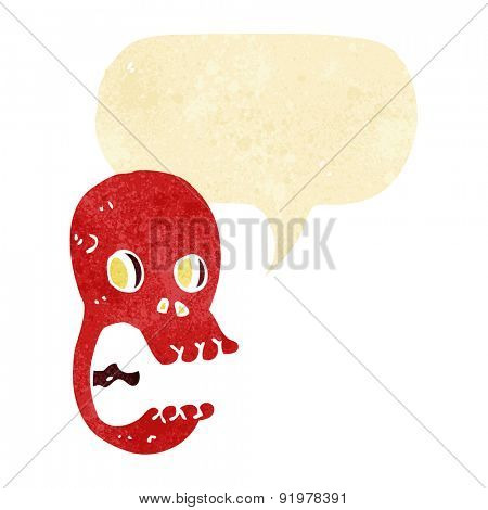 funny cartoon skull with speech bubble
