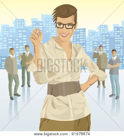 Vector business woman with silhouettes of business people, with transparency shadows and city