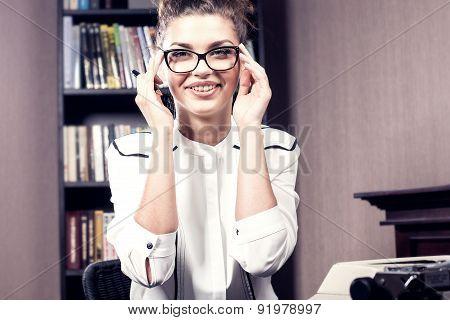 Happy Businesswoman In Eyeglasses.