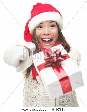 Christmas Woman Giving Gift Excited