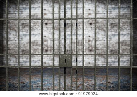 Old Grunge Prison Seen Through Jail Bars