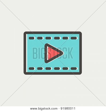 Film strip with arrow icon thin line for web and mobile, modern minimalistic flat design. Vector icon with dark grey outline and offset colour on light grey background.