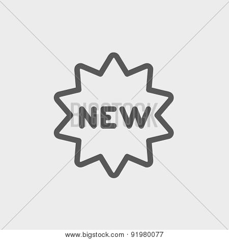 New tag icon thin line for web and mobile, modern minimalistic flat design. Vector dark grey icon on light grey background.