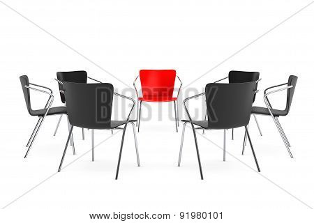 Business Large Meeting. Chairs Arranging Round With Boss Chair. 3D Rendering