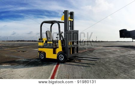 Yellow Industrial Forklift Truck