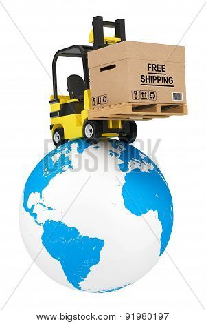 Forklift Truck With Free Shipping Box Over Earth Globe