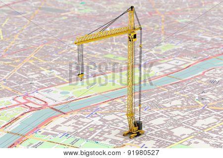 Cargo Delivery Concept. Hoisting Crane