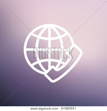 Global internet shopping icon thin line for web and mobile, modern minimalistic flat design. Vector white icon on gradient mesh background.