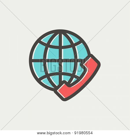 Global internet shopping icon thin line for web and mobile, modern minimalistic flat design. Vector icon with dark grey outline and offset colour on light grey background.
