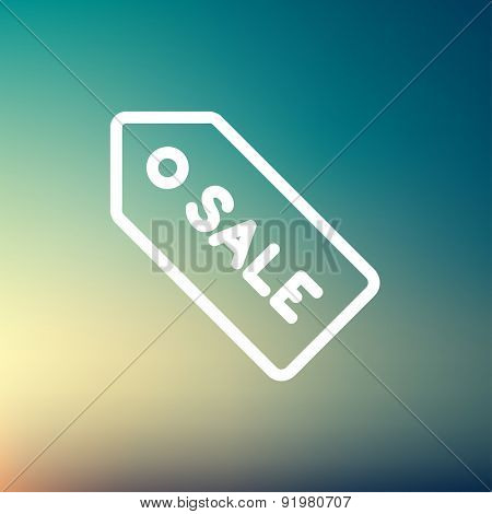 Sale tag icon thin line for web and mobile, modern minimalistic flat design. Vector white icon on gradient mesh background.