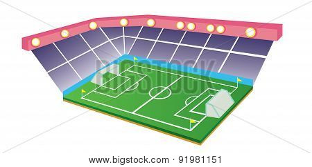 Football Or Soccer Field And Stadium