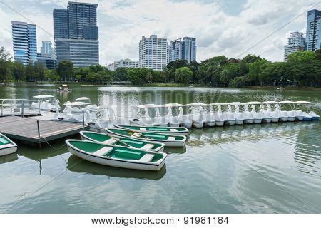 Renting Boat For Rowing In The Park, Bangkok Thailand