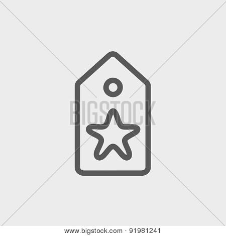Tag with star best offer icon thin line for web and mobile, modern minimalistic flat design. Vector dark grey icon on light grey background.