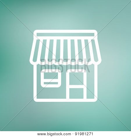 Store stall icon thin line for web and mobile, modern minimalistic flat design. Vector white icon on gradient mesh background.
