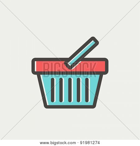 Shopping basket icon thin line for web and mobile, modern minimalistic flat design. Vector icon with dark grey outline and offset colour on light grey background.