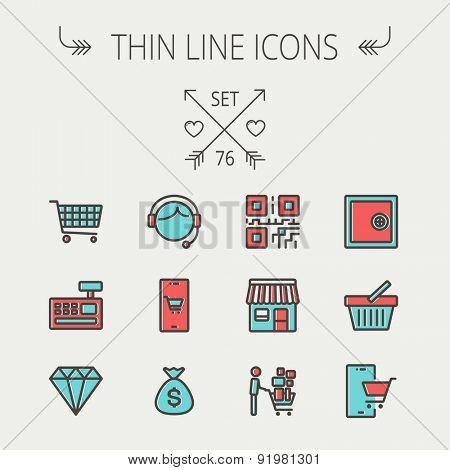 Business shopping thin line icon set for web and mobile. Set includes - shopping cart, cash register machine, customer service, QR code, store stall, safe, vault, shopping basket icons. Modern