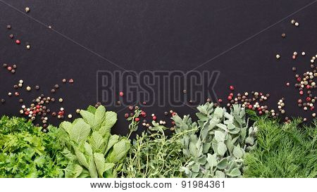 Background With Fresh Herbs And Pepper