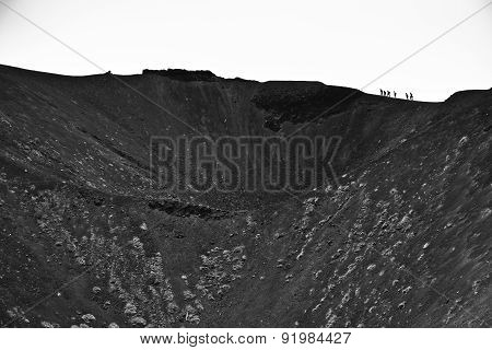 Volcano crater of mount Etna in Sicily