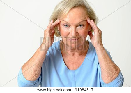 Senior Woman Showing Her Face, Effect Of Aging