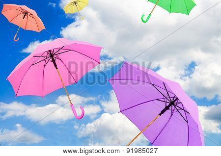 Colorful Umbrellas Against The Sky