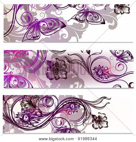 Brochures Set With Floral Ornament