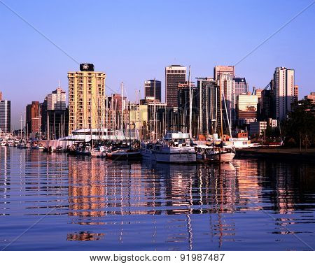 Vancouver city buildings and harbour.