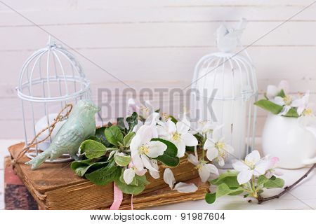 Postcard With Apple Blossom, Decorative Bird, Old Books, Candles
