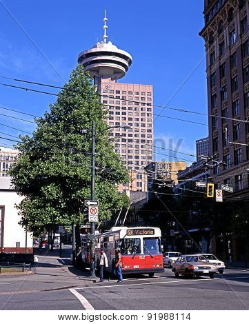 Trolley bus in city centre, Vancouver.