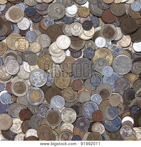collection of coins from different countries