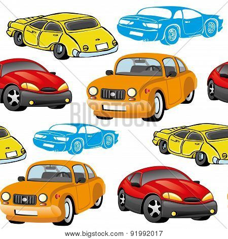 Vector seamless background. Cars.
