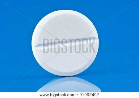 Pill On Blue Background