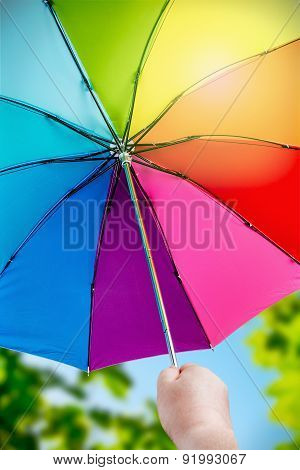 Rainbow Umbrella In Woman Hands On Nature Background