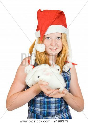 Girl  In Santa Hat With Rabbits