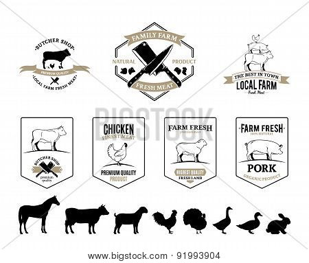 Butchery Labels, Farm Animals and Design Elements