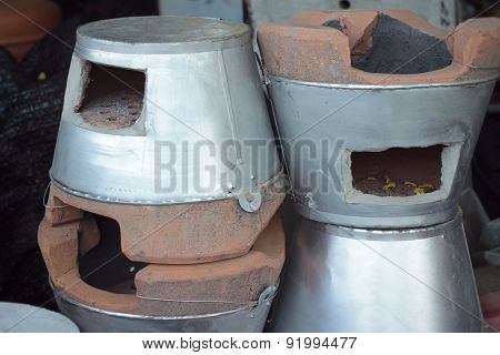 Earthenware Brown- Stove For Cooking In Asia.
