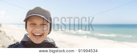 panoramic child closeup, happy smile, portrait outdoor backlight