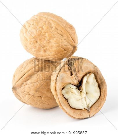 Walnuts And A Cracked Walnut