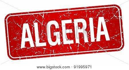 Algeria Red Stamp Isolated On White Background