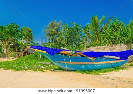 Exotic beach with colorful boat, Sri Lanka, Asia