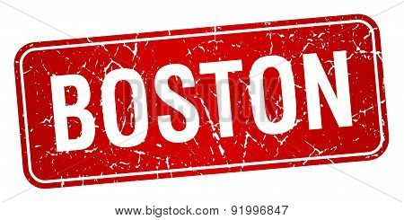 Boston Red Stamp Isolated On White Background