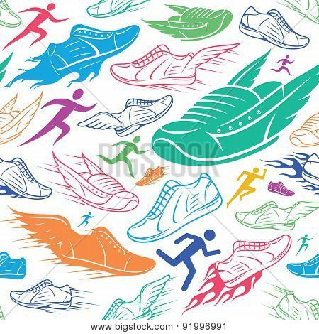 Sport Shoes, Running Man Background, Seamles Pattern, Sport Icon