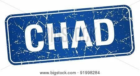 Chad Blue Stamp Isolated On White Background