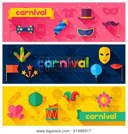 Celebration festive banners with carnival flat icons and objects