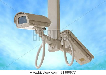 Security Twin Camera Isolated On Blue Sky Background.