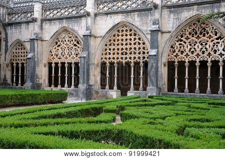 Renaissance Cloister Of Batalha Monastery In Portugal