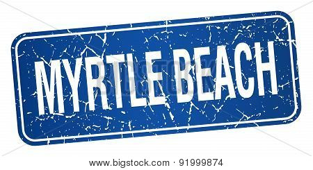 Myrtle Beach Blue Stamp Isolated On White Background