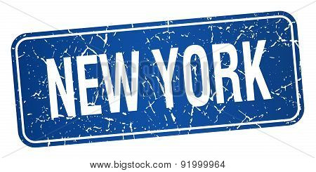 New York Blue Stamp Isolated On White Background