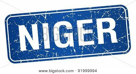 Niger Blue Stamp Isolated On White Background