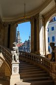 stock photo of pilaster  - View toward stairs and arches of Glockenspiel  - JPG