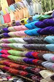 picture of stall  - Leather moroccan slippers for sale in a market stall - JPG
